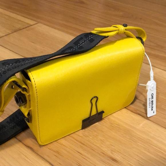fb9da18c Off-white yellow mini binder clip bag. M_5bfef7c48ad2f9006cd46bd3